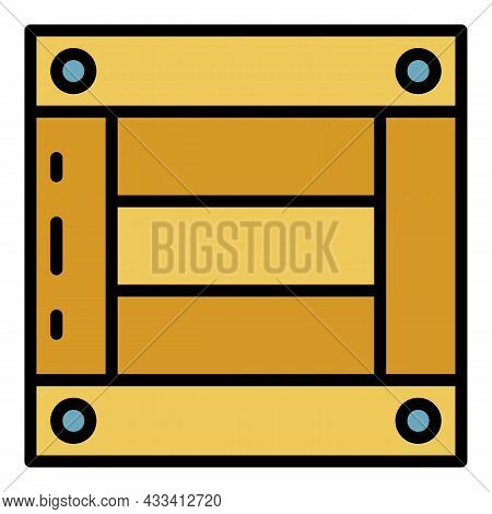 Wooden Export Box Icon. Outline Wooden Export Box Vector Icon Color Flat Isolated