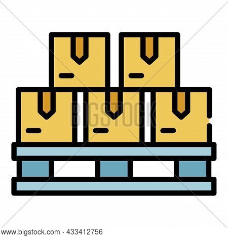 Goods On A Pallet Icon. Outline Goods On A Pallet Vector Icon Color Flat Isolated