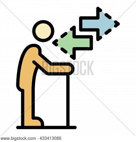 Senior Man Move Icon. Outline Senior Man Move Vector Icon Color Flat Isolated