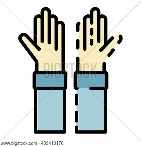 Hands Alzheimers Disease Icon. Outline Hands Alzheimers Disease Vector Icon Color Flat Isolated
