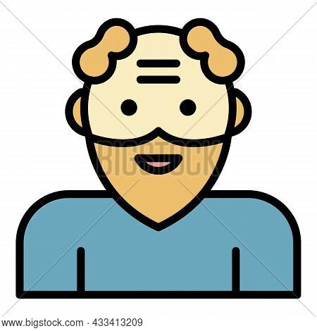 Smiling Senior Man Icon. Outline Smiling Senior Man Vector Icon Color Flat Isolated