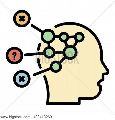 Disease Head Diagram Icon. Outline Disease Head Diagram Vector Icon Color Flat Isolated