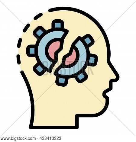 Braked Mind Gear Icon. Outline Braked Mind Gear Vector Icon Color Flat Isolated