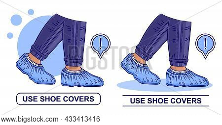 Shoe Covers Icon Set. Use Medic Protective Disposable Surgical Overshoe Sign. Personal Medical Steri