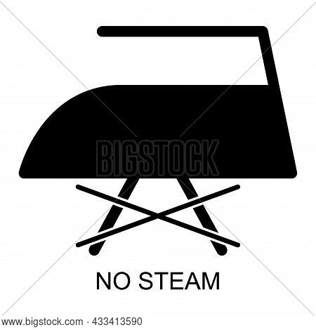 Don T Iron With Steam Flat Icon Isolated On White Background. No Steam Symbol. Machine Vector Illust