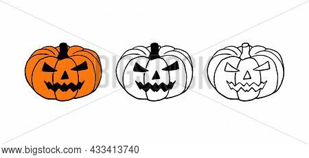 Jack-o-lantern Or Halloween Pumpkin Hand Drawn Vector Set Isolated On White Background.