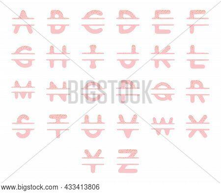Girly Letters Name Monogram Set. Vector Typography Flat Design