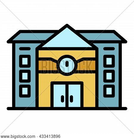 Railway Station Icon. Outline Railway Station Vector Icon Color Flat Isolated