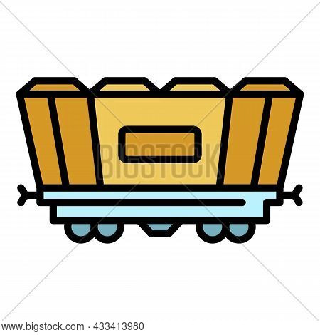 Freight Railway Wagon Icon. Outline Freight Railway Wagon Vector Icon Color Flat Isolated