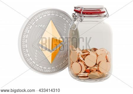 Ethereum Inside Glass Jar With Chain And Padlock. 3d Rendering Isolated On White Background