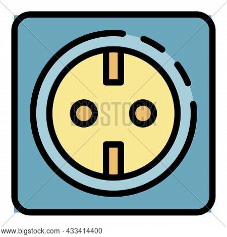 Smart Socket Icon. Outline Smart Socket Vector Icon Color Flat Isolated