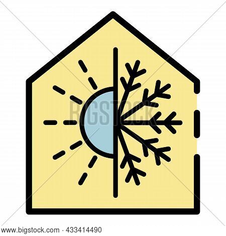 Climate Control Smart Home Icon. Outline Climate Control Smart Home Vector Icon Color Flat Isolated