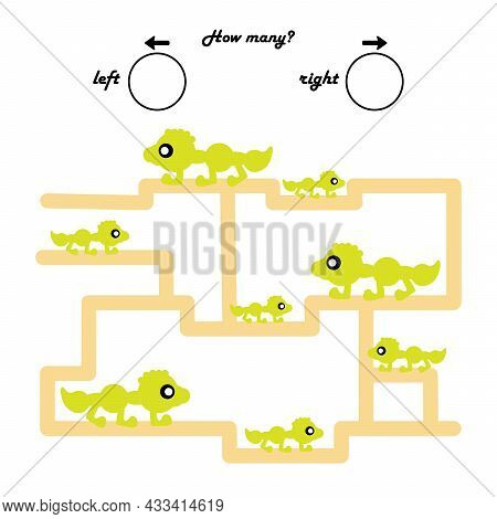 A Game For Preschool Children. Count How Many Monsters Will Go To The Left, And How Many To The Righ