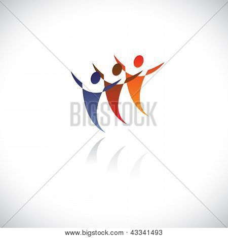 Colorful Illustration Of Icons Of People Together Being Free. The Graphic Represents Symbols/signs O