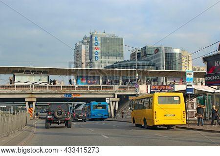 Kyiv, Ukraine - 15 October, 2019: Traffic On Modern City Street. Contemporary Train Riding On Railro
