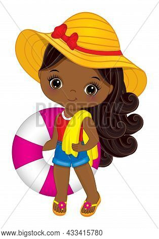 Cute, Little African American Girl Wearing Shorts, T-shirt, Straw Hat And Flip-flops Holding Lifebuo