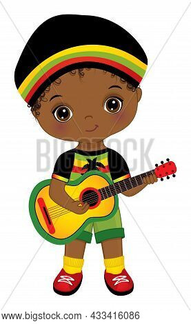 Cute Little African American Boy Wearing Rastafarian Outfit And Hat, Playing Guitar. Little Boy Is C