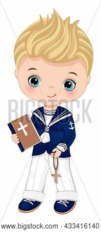 First Communion Spanish Sailor. Little Boy First Confirmation. Cute Boy Is Blond With Blue Eyes Hold