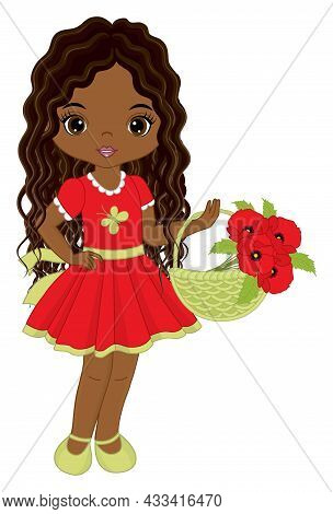 Beautiful African American Girl Wearing Red Dress, Holding Basket Of Poppies. Cute Girl Is Curly Wit