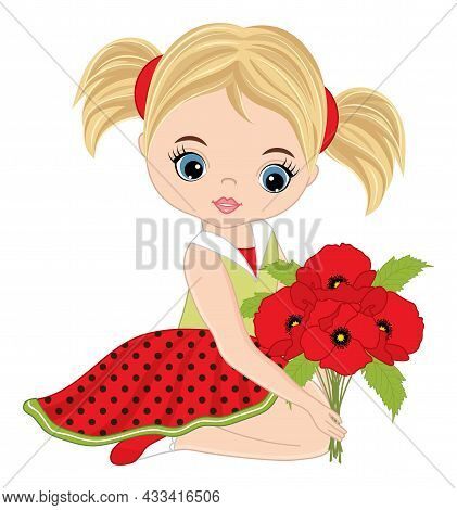 Beautiful Girl Sitting And Holding Bunch Of Poppies. Cute Girl Is Blond With Blue Eyes And Ponytails
