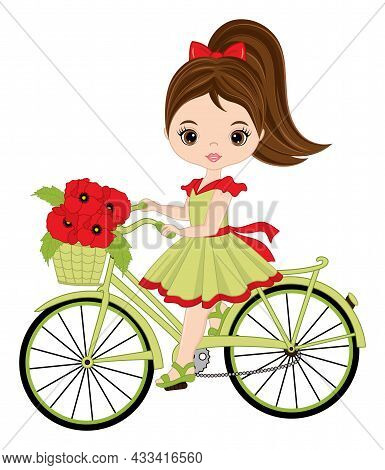 Beautiful Girl Riding Bicycle With Basket Full Of Red Poppies. Cute Girl Is Brunette With Hazel Eyes