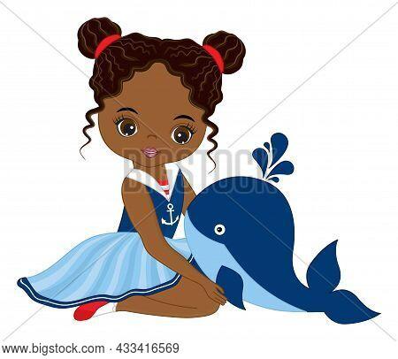 Vector Teen African American Girl Wearing Nautical Dress. Beautiful Black Girl Holding Baby Whale. B