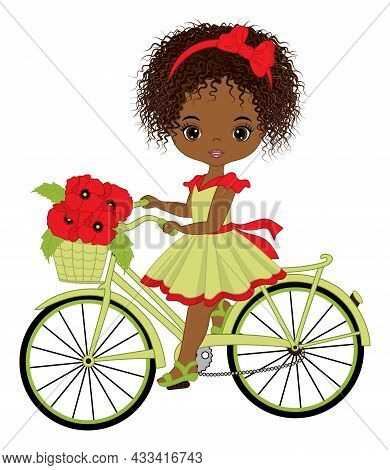 Beautiful Black Girl Riding Bicycle With Basket Full Of Red Poppies. Cute Girl Is Curly. Vector Bike
