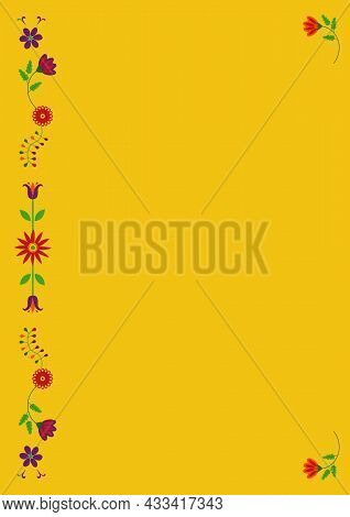 Mexican Embroidery Otomi Style Floral Composition With Copy Space For Text. Vector Ethnic Floral Des