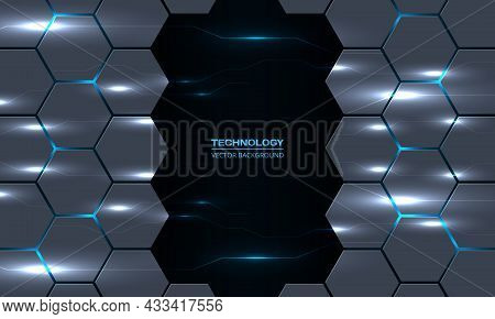 Abstract Technology Hexagon Background With Circuit Electric Lightning Lines. Dark Gray Hexagonal Te