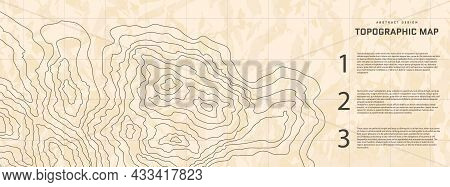 Topographic Map Abstract Background With Infographic Elements. Old Outline Cartography Landscape. To