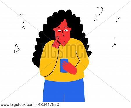 A Girl Reads A Message On Her Phone. The Woman Is Puzzled By The Received Message, A Question Mark.