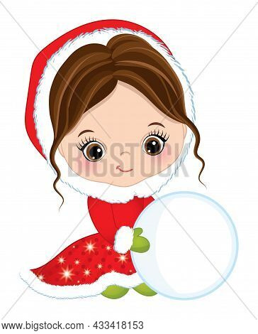 Cute Little Girl Wearing Red Coat And Green Mittens Making Snowman. Little Girl Is Brunette With Haz