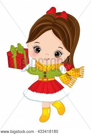 Cute Little Girl Wearing Winter Dress, Scarf Holding Gift Box, Decorated With Red Bow. Little Girl I
