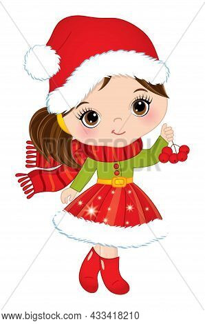 Cute Little Girl Wearing Winter Red Dress, Scarf And Santa Claus Hat Holding A Branch Of Ashberry. L
