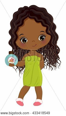 Little Girl After Shower, Wrapped In Towel. African American Girl With With Long, Curly Hair Holding
