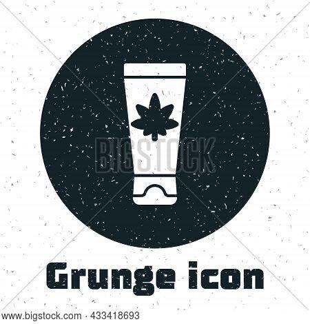 Grunge Medical Cream With Marijuana Or Cannabis Leaf Icon Isolated On White Background. Mock Up Of C