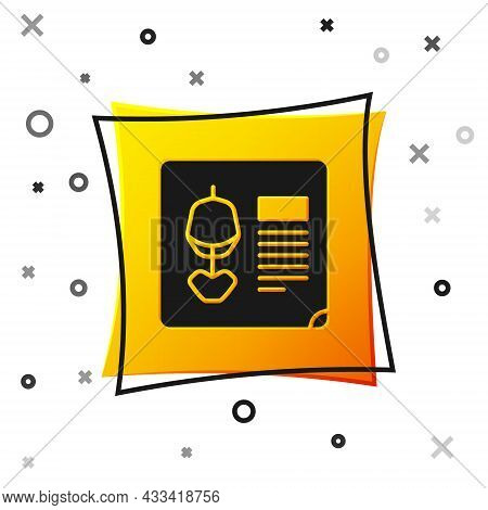 Black X-ray Shots Icon Isolated On White Background. Yellow Square Button. Vector Illustration