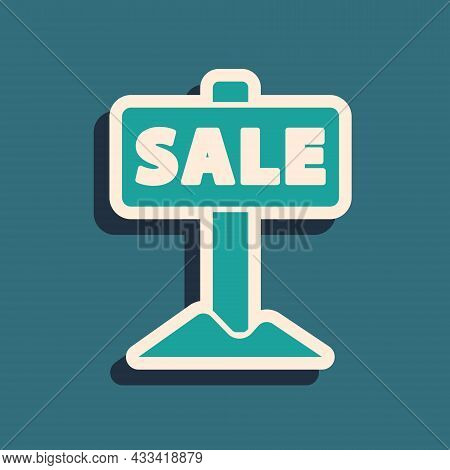 Green Hanging Sign With Text Sale Icon Isolated On Green Background. Signboard With Text Sale. Long