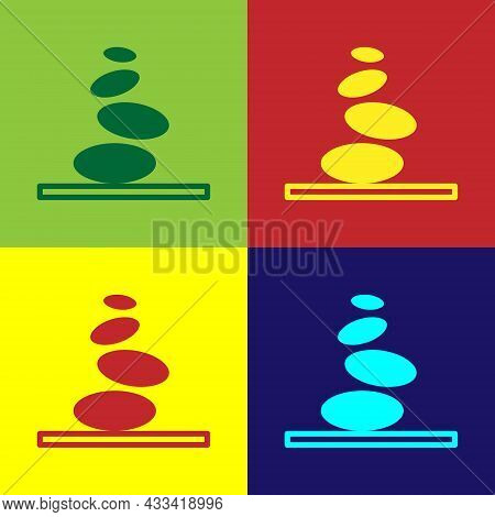Pop Art Stack Hot Stones Icon Isolated On Color Background. Spa Salon Accessory. Vector