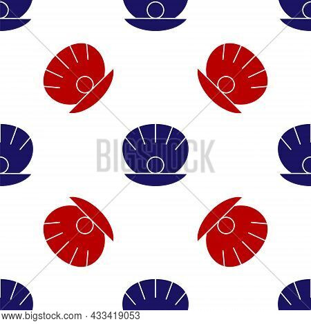 Blue And Red Natural Open Shell With Pearl Icon Isolated Seamless Pattern On White Background. Scall