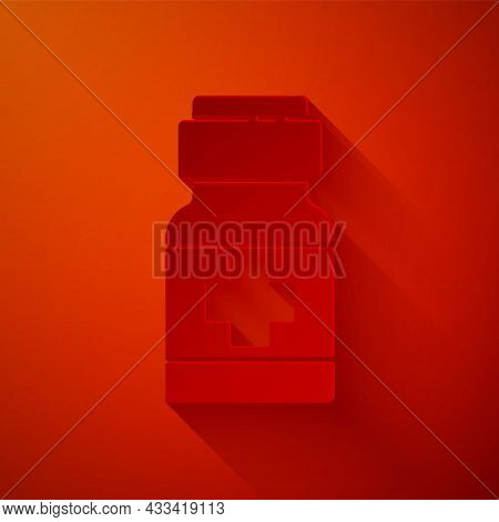 Paper Cut Medicine Bottle And Pills Icon Isolated On Red Background. Medical Drug Package For Tablet