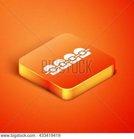 Isometric Teeth With Braces Icon Isolated On Orange Background. Alignment Of Bite Of Teeth, Dental R