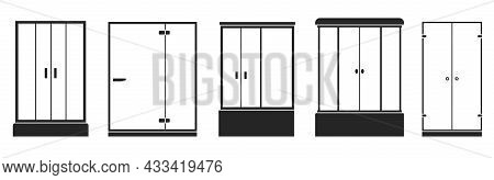 Shower Stall Vector Black Set Icon. Vector Illustration Bathroom On White Background. Isolated Black