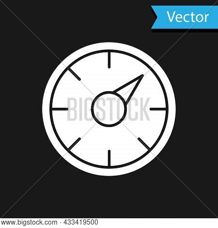 White Digital Speed Meter Concept With 5g Icon Isolated On Black Background. Global Network High Spe