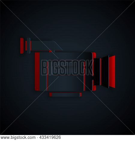 Paper Cut Cinema Camera Icon Isolated On Black Background. Video Camera. Movie Sign. Film Projector.
