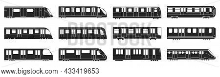 Subway Train Vector Illustration On White Background .set Black Icon Transport Metro.vector Illustra