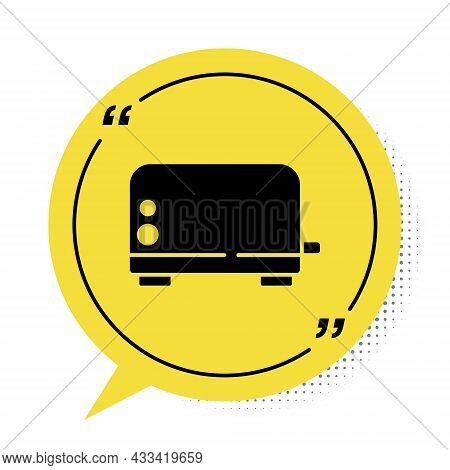 Black Toaster Icon Isolated On White Background. Yellow Speech Bubble Symbol. Vector