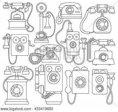 Retro Phone Vector Outline Set Icon. Vector Illustration Vintage Telephone On White Background. Isol