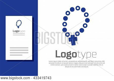 Blue Rosary Beads Religion Icon Isolated On White Background. Logo Design Template Element. Vector