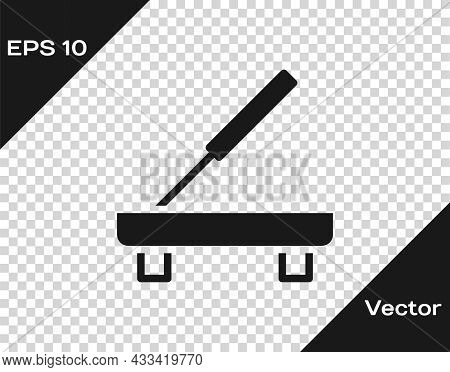 Black Scented Spa Stick On A Wooden Stand Icon Isolated On Transparent Background. Incense Stick. Co